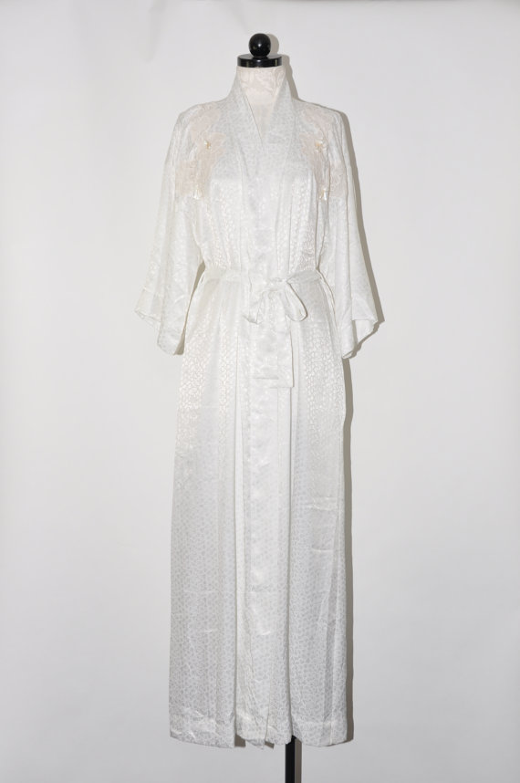 Свадьба - white damask maxi robe / 80s lacy dressing gown / sexy sweeping robe / Christian Dior lingerie