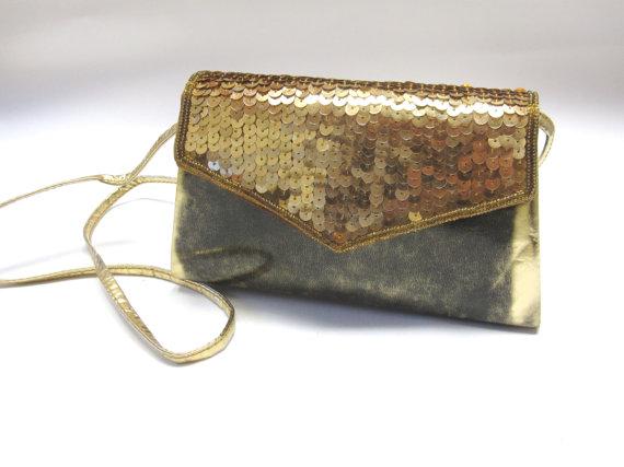 Свадьба - Gold Firmside Hardside Purse Handbag Evening Clutch Metallic Sequined Purse Wedding Bridal Accessory
