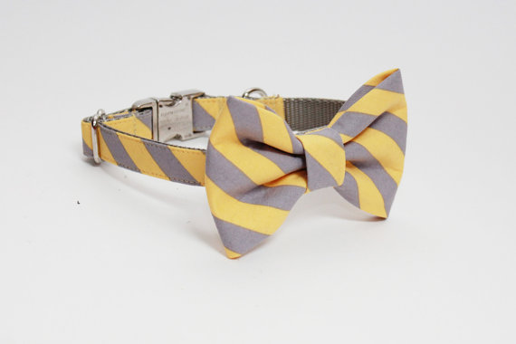 Свадьба - Gray and Yellow Striped Adjustable Bow Tie Dog Collar