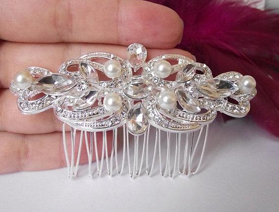 Mariage - wedding hair comb, pearl bridal hair comb, wedding hair accessories,crystal wedding hair comb, pearl hair comb, swarovski crystal pearl comb