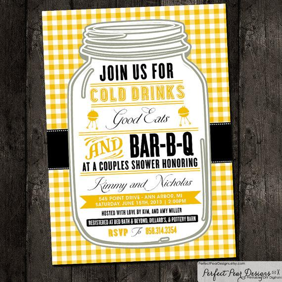 couples shower barbecue invitation barbeque bbq picnic summer