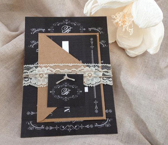 Mariage - Rustic Lace Wedding invitation sets,Rustic  Chalkboard Wedding Invitations,Monogram Wedding Invitations,Chalkboard Monogram Wedding Invites