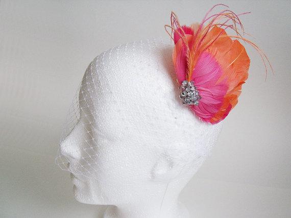 Hochzeit - Ivory Birdcage Veil Fascinator - Ivory Birdcage Veil with Bridal Fascinator - Orange Bridal Fascinator - Birdcage Fascinator - Birdcage Veil