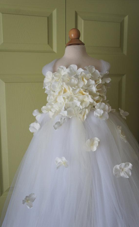 Wedding - Flower girl dress White Dress, White and Ivory tutu dress, flower top, hydrangea top, toddler tutu dress Cascading flowers