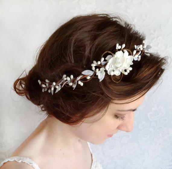 Bridal Hair Accessories Wedding Hairpiece White Flower Circlet Grace Fl Crown Headpiece Headband