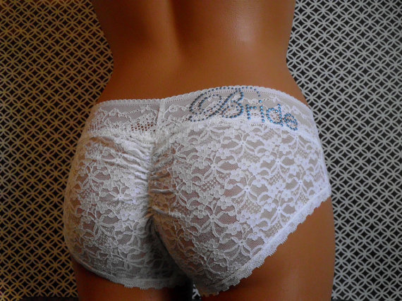 0e541181ff55 Bridal Panties (Plus Size): White Lace Cutie Booty w/ Something Blue -  Customized Bridal Panties