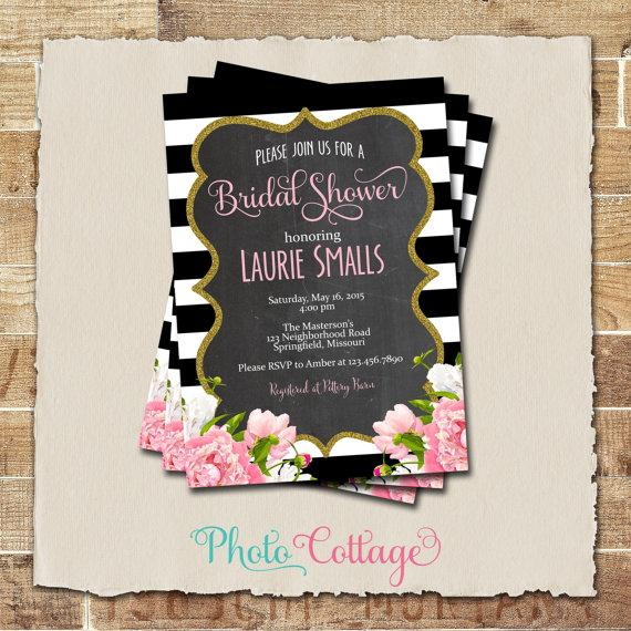Mariage - Bridal Shower Invitation, Glitter Gold Invitation, Peony Invitations, Bridal Shower Invites, Black & White Invitation, BS110