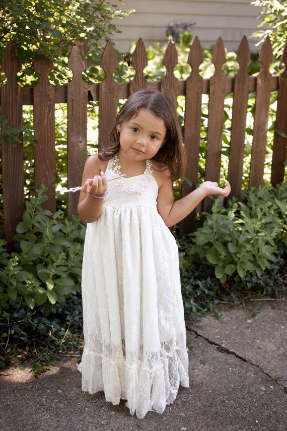 Girls Maxi Dress Lace Flower Girl Dress Rustic Wedding Baptism