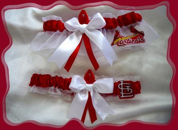 Hochzeit - White Organza Ribbon Wedding Garter Set Made with Cardinals Fabric
