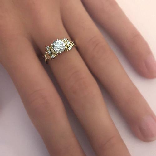 Hochzeit - Art Deco Diamond Engagement Ring White Gold Diamond Ring Antique Style