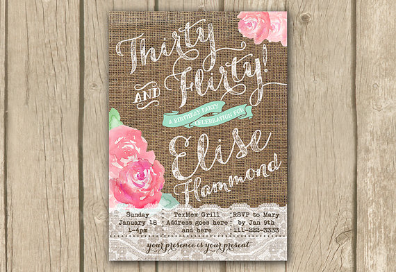 Thirty And Flirty Invitation 30th Birthday Printable Bday Party Invite Pink Mint 30 40 Naughty