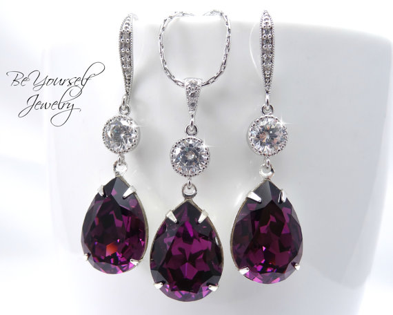Hochzeit - Purple Bridal Earrings & Necklace Set Swarovski Crystal Amethyst Teardrop Matching Set Plum Bridesmaid Gift Cubic Zirconia Wedding Jewelry