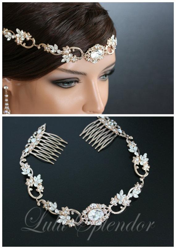 Свадьба - Rose Gold Wedding Forehead Band Swarovski Crystal Bridal Halo Headpiece Wedding Hair Accessory RYAN