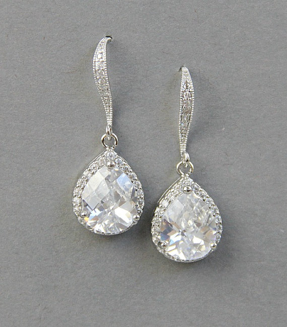 Crystal Teardrop Earrings Bridal Jewelry Dangle Wedding Cz