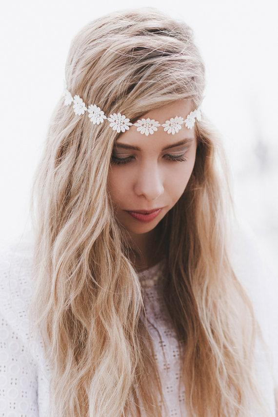 Wedding - Cream Daisy Headband, Daisy Headband, Daisy Trim Elastic Headband for Weddings, Festival Headband, Flower Hair Accessory, Hippie Headband