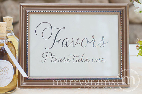 Wedding Favors Table Card Sign