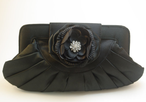 Mariage - Black Satin Clutch - Crystal Flower Clutch - Black Satin Handbag - Black Formal Clutch - Flower Evening Clutch - Crystal Wedding Handbag