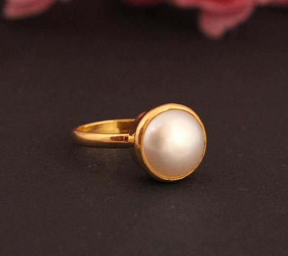 Hochzeit - 22k Gold ring - Pearl ring - Wedding ring - Engagement ring - Promise ring - Anniversary ring - Gift for her
