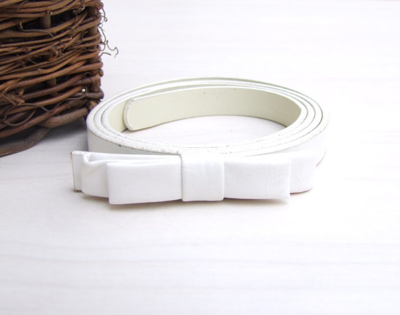 Wedding - White Belt, Bridesmaids Belt, Wedding Belt, Bridesmaids Set Belts, Bow belt, Leather belt, Romantic belt