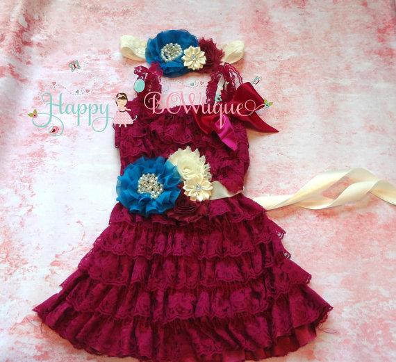 Свадьба - Raspberry Ivory Turquoise dress set, Flower girls dress,Ivory  Dress,girls dress, Birthday dress,fall dress,baby dress, Plum dress,baby girl