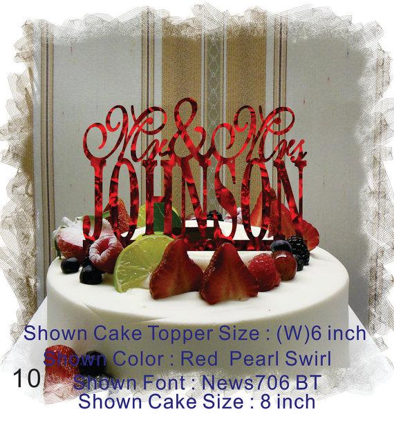 زفاف - Wedding  Cake Topper , Monogram Cake Topper Mr and Mrs  With Your Last (Family)Name  - Handmade Custom Wedding Cake Topper