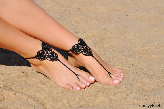 Mariage - Crochet Black Barefoot Sandals, Foot jewelry, Bridesmaid gift, Barefoot sandles, Beach, Anklet, Wedding shoes, Beach Wedding, Summer shoes