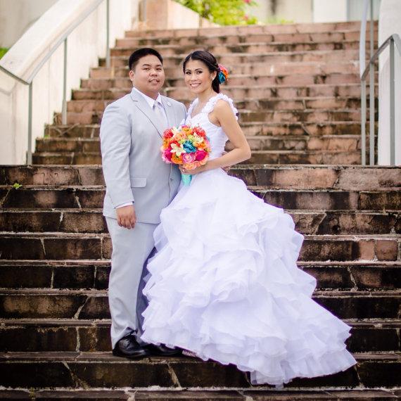 Wedding - Tropical Paradise  Aqua Blue Wedding Destination Handmade  Bridal Bouquet Set