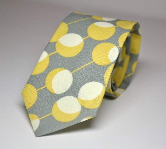 Hochzeit - Men's Tie Gray and Yellow Martini Dots - Boy's Tie or Men's Necktie
