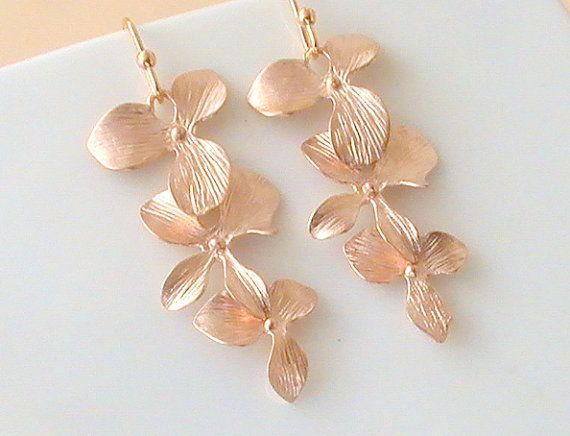 edb0abb8778 Rose Gold Earrings- Flower Earrings- Long Earrings- Gold Dangle Earrings-  Will You Be My Bridesmaid Gift- Gifts For Her- Wedding GIft Idea