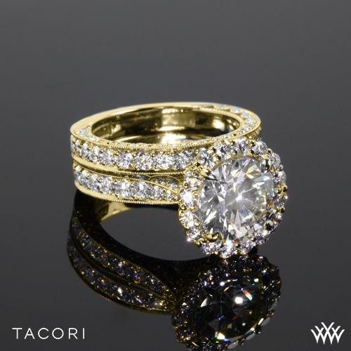 Hochzeit - 18k Yellow Gold Tacori HT2605RD95 RoyalT Bloom Wedding Set