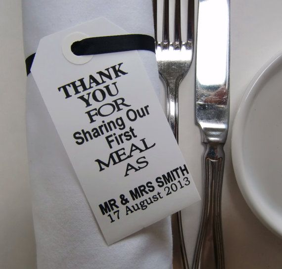 Свадьба - 70 Wedding Napkin Holders-Wedding Table Decor-Elegant WhiteTags-Thank You For Sharing Our First Meal-Set Of 70-Unique Wedding Favors