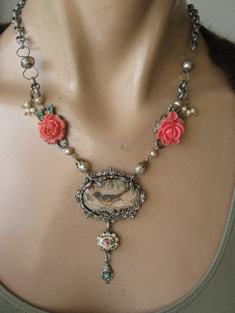 Hochzeit - Music In The Leaves... Vintage Assemblage Necklace
