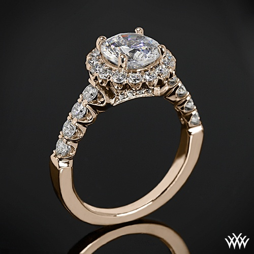 Hochzeit - 18k Rose Gold Ritani 1RZ2720 Masterwork Halo Diamond Band Engagement Ring
