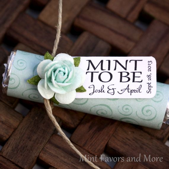 Mint Wedding Favor With Personalized To Be Tag Green Spiral