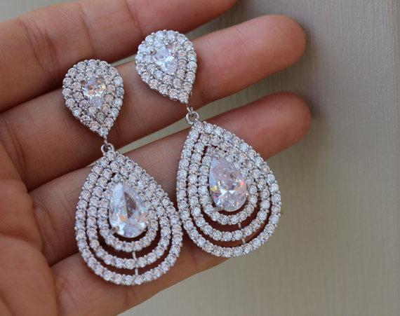 Mariage - bridal jewelry drop bridal earrings wedding jewelry clear bridal earring wedding earrings