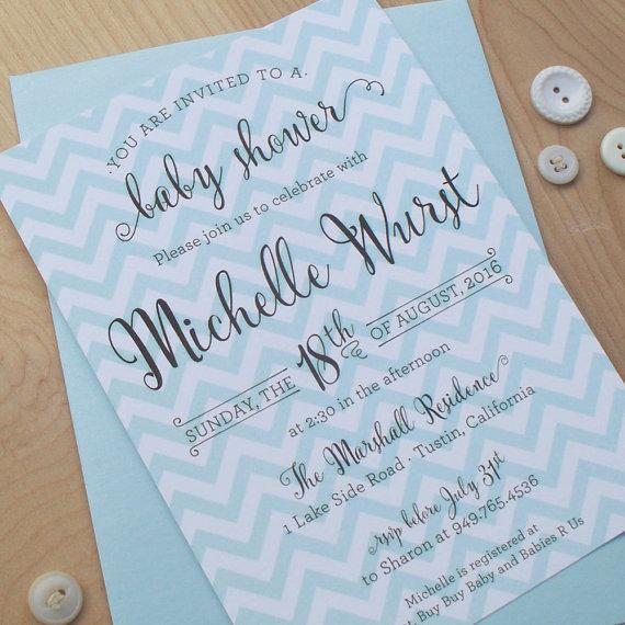 Wedding - Chevron Shower invitation, Baby Shower Invitation, digital invitation file, modern invitation, party invitation, wedding shower