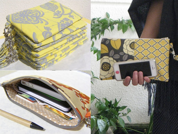 Hochzeit - CREATE your 12 wedding clutches, gift pouch, 2 pockets, handmade, bridesmaids, you choose 12 pouches