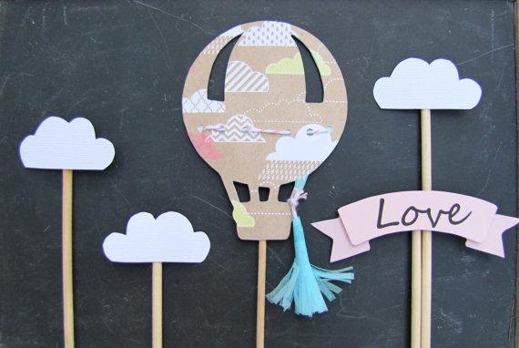 Свадьба - Hot Air Balloon Cake Topper Baby shower cake topper wedding cake topper hot air balloon party