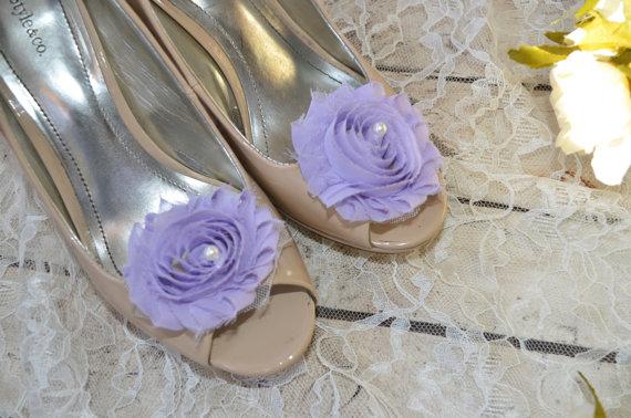 Wedding - Flower Shoe Clips, Lilac Flower shoe clips, shoe clips, wedding shoe clips, lavender shoe clips, pearl