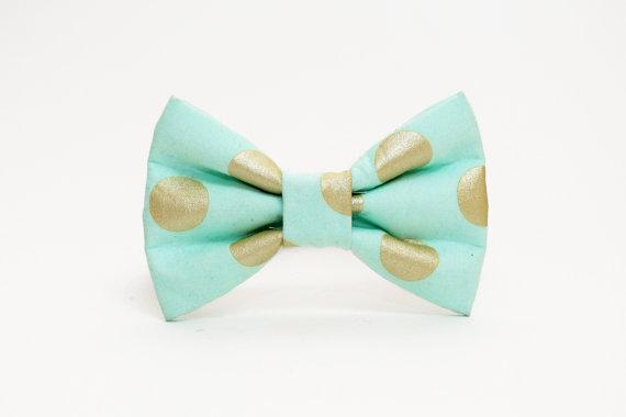 زفاف - Dog Bow Tie- Mint and Gold Metallic Polka Dot Print- More Colors Available