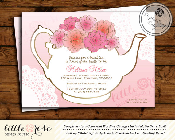 Bridal Tea Party Invitation Bridal Shower Invite Baby Shower Tea