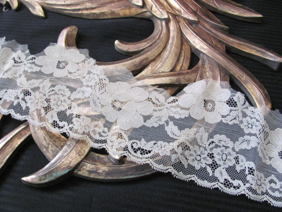 Hochzeit - Vintage Wide Beige Floral Lingerie Lace  - 4 Inches Wide - 3+ Yards Total