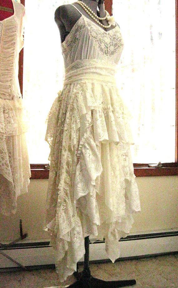 Ivory Off White Alternative Bride Tattered Boho Gypsy Hippie ...