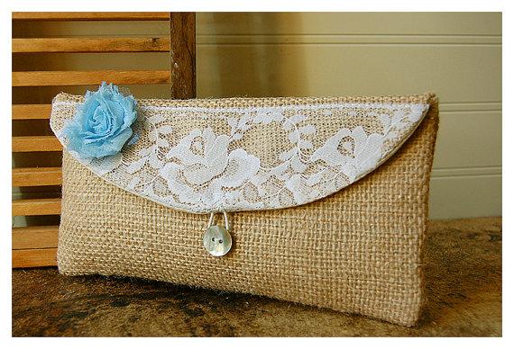 Hochzeit - blue, burlap, lace, white, orange, gold clutch, rustic floral clutch, Spring Wedding Clutch, Bridesmaid Gift, Bridesmaid Clutch, Makeup Bag