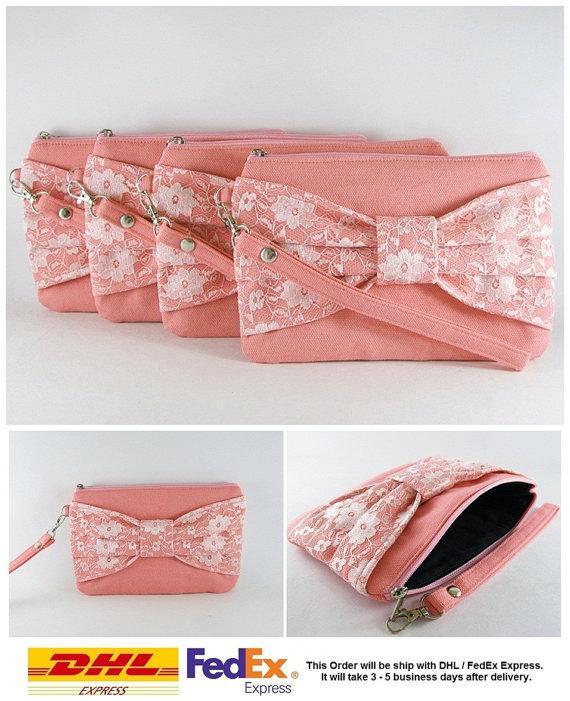 زفاف - SUPER SALE - Set of 7 Peach Lace Bow Clutches -Bridal Clutch,Bridesmaid Clutch,Bridesmaid Wristlet,Wedding Gift,Zipper Pouch - Made To Order
