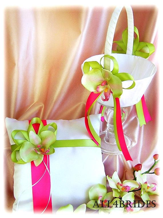 Wedding pillow basket hot pink and green orchids wedding ring pillow wedding pillow basket hot pink and green orchids wedding ring pillow flower girl basket wedding accessories ceremony decor mightylinksfo Images