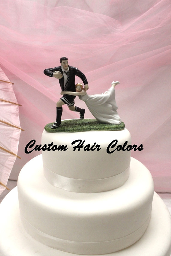 Wedding Cake Topper Bride And Groom Love Match Rugby Personalized Sports Theme