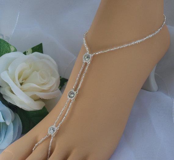 Mariage - Rhinestone Barefoot Sandal - Wedding Bridal Foot Jewelry