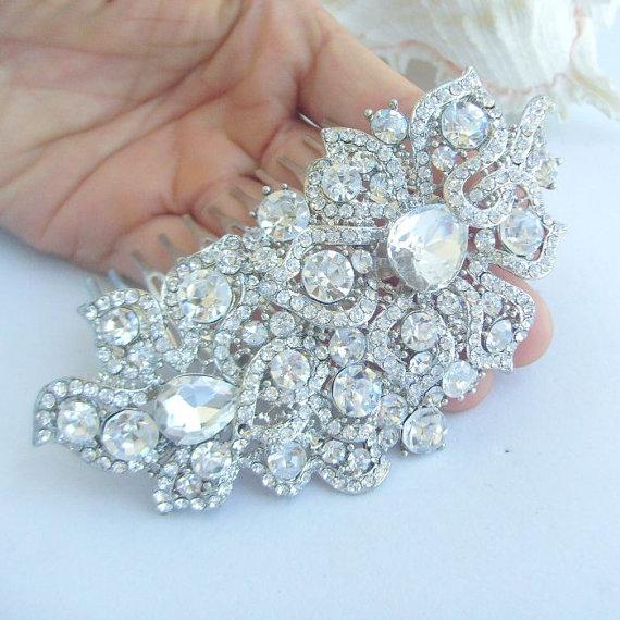 Свадьба - Bridal Hair Accessories Wedding Hair Jewelry Rhinestone Crystal Bridal Hair Comb Wedding Headpiece Bridal Jewelry Wedding Comb HSE05093C1