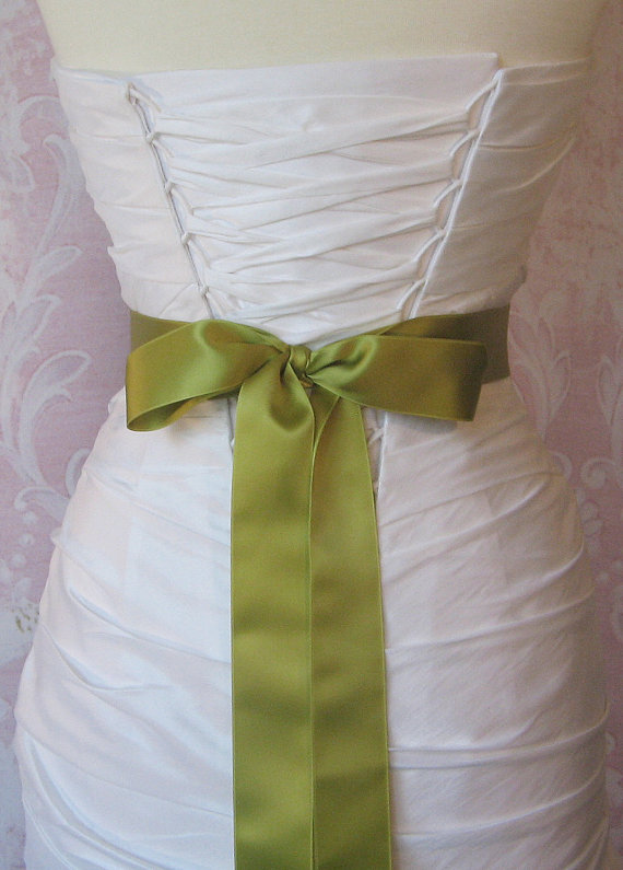 Mariage - Double Face Fern Green Satin Ribbon, 1.5 Inch Wde, Light Green Bridal Sash, Pear, Chartreuse Ribbon Sash, Wedding Belt, 4 Yards